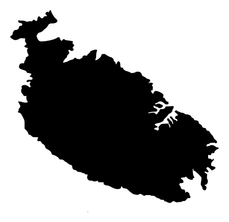 Vector Map of Malta Island with name. Map of Malta Island is isolated on a white background. Simple flat geographic map.