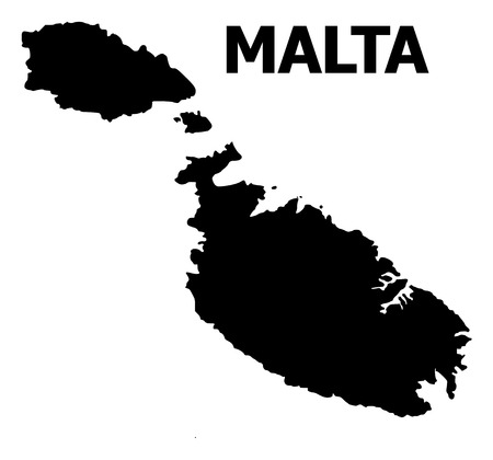 Vector Map of Malta with title. Map of Malta is isolated on a white background. Simple flat geographic map.