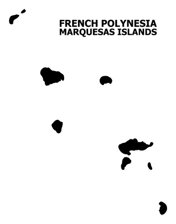 Vector Map of Marquesas Islands with title. Map of Marquesas Islands is isolated on a white background. Simple flat geographic map.
