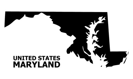 Vector Map of Maryland State with caption. Map of Maryland State is isolated on a white background. Simple flat geographic map.