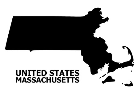 Vector Map of Massachusetts State with title. Map of Massachusetts State is isolated on a white background. Simple flat geographic map.