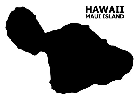 Vector Map of Maui Island with name. Map of Maui Island is isolated on a white background. Simple flat geographic map.
