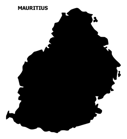 Vector Map of Mauritius Island with title. Map of Mauritius Island is isolated on a white background. Simple flat geographic map.