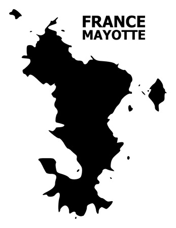 Vector Map of Mayotte Islands with name. Map of Mayotte Islands is isolated on a white background. Simple flat geographic map.
