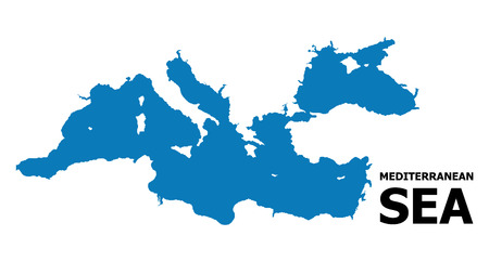 Vector Map of Mediterranean Sea with name. Map of Mediterranean Sea is isolated on a white background. Simple flat geographic map. Иллюстрация