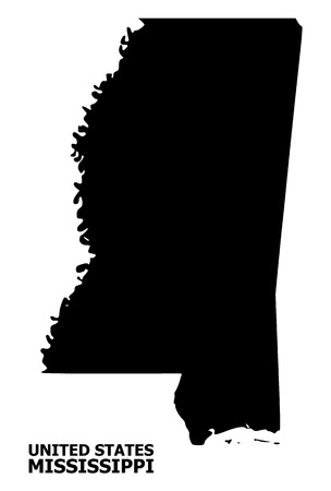 Vector Map of Mississippi State with title. Map of Mississippi State is isolated on a white background. Simple flat geographic map. 向量圖像