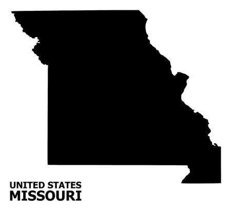 Vector Map of Missouri State with title. Map of Missouri State is isolated on a white background. Simple flat geographic map. Ilustração