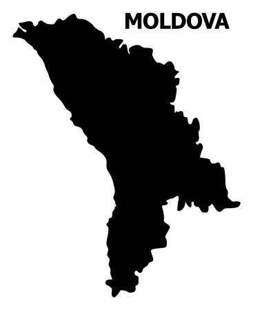 Vector Map of Moldova with name. Map of Moldova is isolated on a white background. Simple flat geographic map.