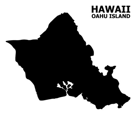 Vector Map of Oahu Island with title. Map of Oahu Island is isolated on a white background. Simple flat geographic map.
