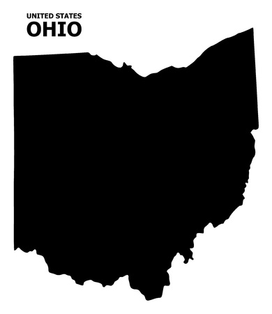 Vector Map of Ohio State with name. Map of Ohio State is isolated on a white background. Simple flat geographic map.