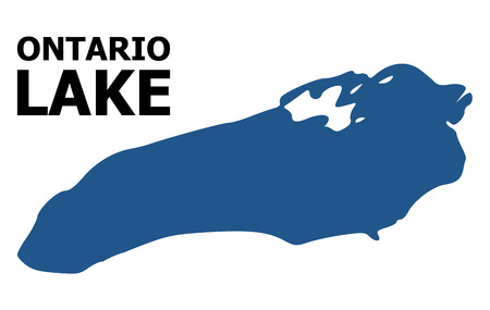 Vector Map of Ontario Lake with caption. Map of Ontario Lake is isolated on a white background. Simple flat geographic map.
