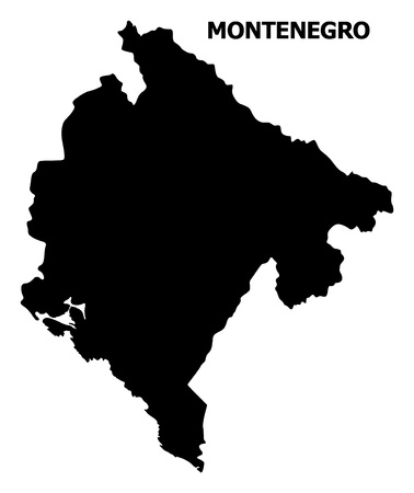 Vector Map of Montenegro with name. Map of Montenegro is isolated on a white background. Simple flat geographic map.