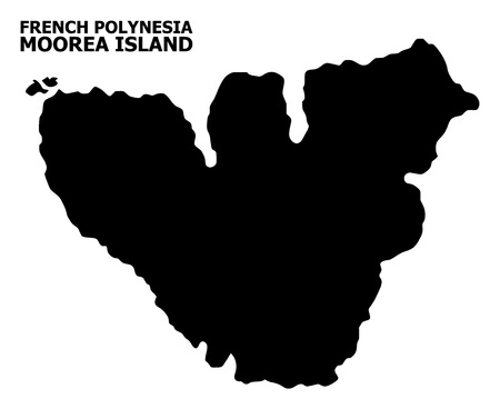 Vector Map of Moorea Island with caption. Map of Moorea Island is isolated on a white background. Simple flat geographic map.