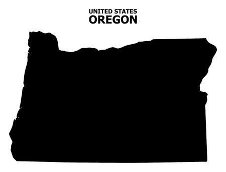 Vector Map of Oregon State with title. Map of Oregon State is isolated on a white background. Simple flat geographic map.