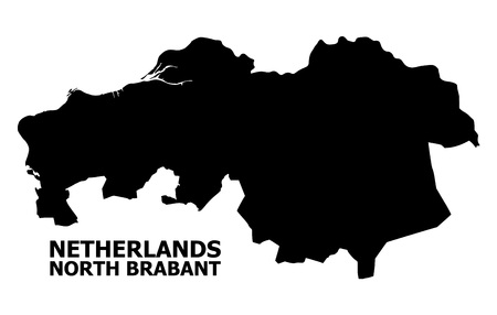 Vector Map of North Brabant Province with name. Map of North Brabant Province is isolated on a white background. Simple flat geographic map.