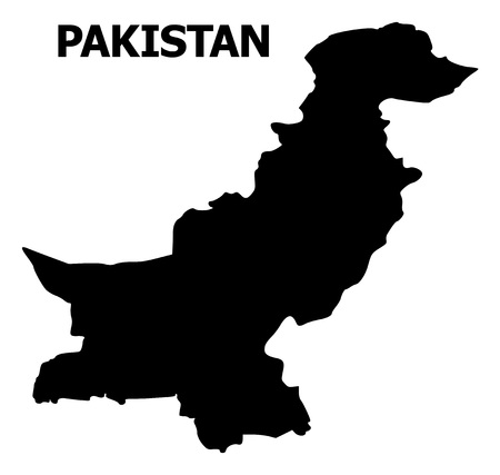 Vector Map of Pakistan with name. Map of Pakistan is isolated on a white background. Simple flat geographic map. Иллюстрация