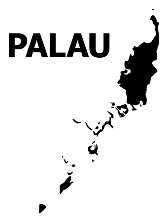 Vector Map of Palau Islands with name. Map of Palau Islands is isolated on a white background. Simple flat geographic map.