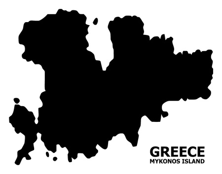 Vector Map of Mykonos Island with title. Map of Mykonos Island is isolated on a white background. Simple flat geographic map. Vettoriali