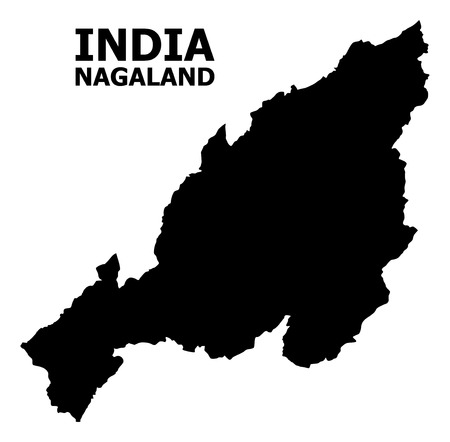 Vector Map of Nagaland State with caption. Map of Nagaland State is isolated on a white background. Simple flat geographic map. Çizim