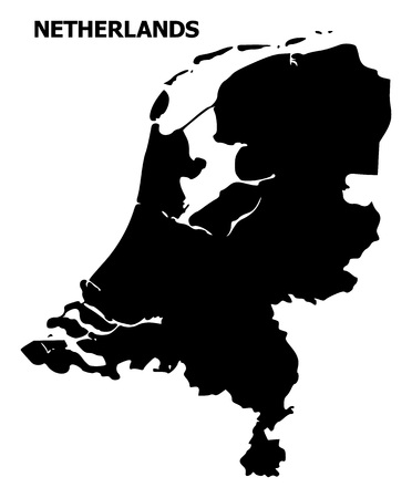 Vector Map of Netherlands with title. Map of Netherlands is isolated on a white background. Simple flat geographic map.