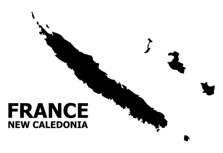 Vector Map of New Caledonia with name. Map of New Caledonia is isolated on a white background. Simple flat geographic map.