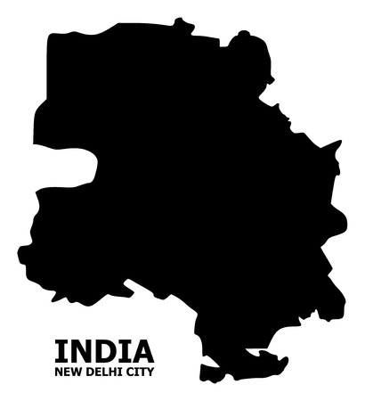 Vector Map of New Delhi City with title. Map of New Delhi City is isolated on a white background. Simple flat geographic map. Illustration