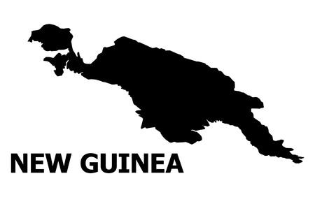 Mappa vettoriale dell'isola della Nuova Guinea con titolo. La mappa dell'isola della Nuova Guinea è isolata su uno sfondo bianco. Semplice mappa geografica piatta.