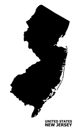 Vector Map of New Jersey State with title. Map of New Jersey State is isolated on a white background. Simple flat geographic map.