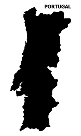 Vector Map of Portugal with name. Map of Portugal is isolated on a white background. Simple flat geographic map.