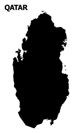 Vector Map of Qatar with name. Map of Qatar is isolated on a white background. Simple flat geographic map.