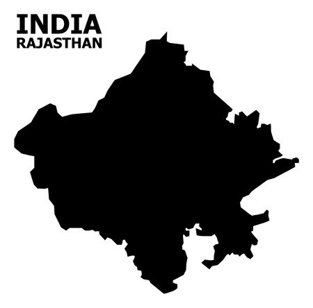 Vector Map of Rajasthan State with name. Map of Rajasthan State is isolated on a white background. Simple flat geographic map.