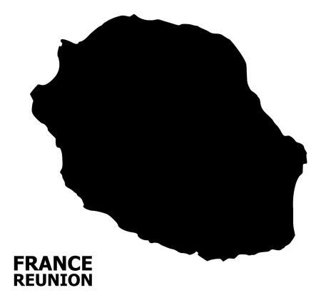 Vector Map of Reunion Island with caption. Map of Reunion Island is isolated on a white background. Simple flat geographic map. Çizim