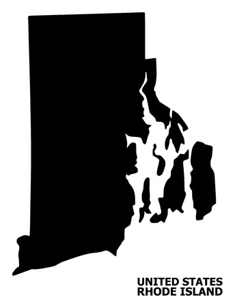 Vector Map of Rhode Island State with name. Map of Rhode Island State is isolated on a white background. Simple flat geographic map.