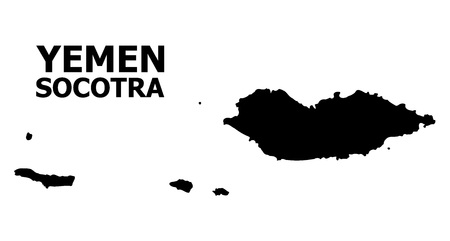 Vector Map of Socotra Archipelago with caption. Map of Socotra Archipelago is isolated on a white background. Simple flat geographic map.