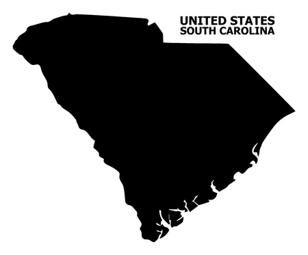 Vector Map of South Carolina State with title. Map of South Carolina State is isolated on a white background. Simple flat geographic map.