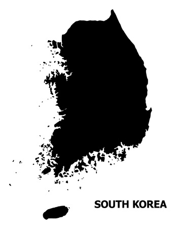 Vector Map of South Korea with caption. Map of South Korea is isolated on a white background. Simple flat geographic map.