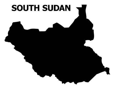 Vector Map of South Sudan with name. Map of South Sudan is isolated on a white background. Simple flat geographic map.