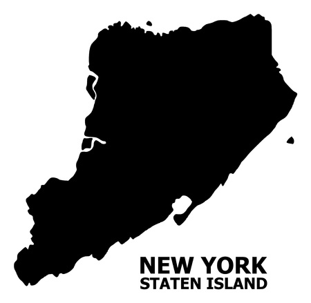 Vector Map of Staten Island with caption. Map of Staten Island is isolated on a white background. Simple flat geographic map.  イラスト・ベクター素材