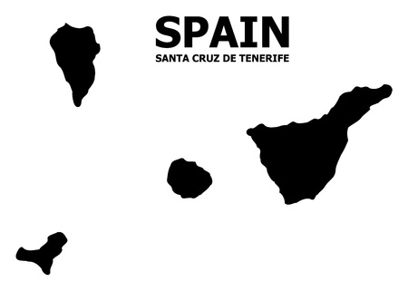 Vector Map of Santa Cruz de Tenerife Province with title. Map of Santa Cruz de Tenerife Province is isolated on a white background. Simple flat geographic map.