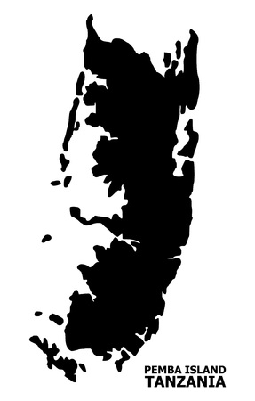 Vector Map of Pemba island with caption. Map of Pemba island is isolated on a white background. Simple flat geographic map.