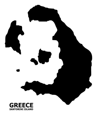 Vector Map of Santorini Island with title. Map of Santorini Island is isolated on a white background. Simple flat geographic map.