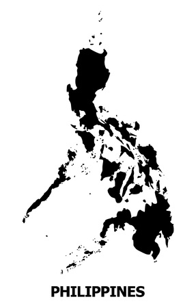 Vector Map of Philippines with name. Map of Philippines is isolated on a white background. Simple flat geographic map.