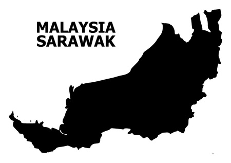 Vector Map of Sarawak with name. Map of Sarawak is isolated on a white background. Simple flat geographic map. 向量圖像
