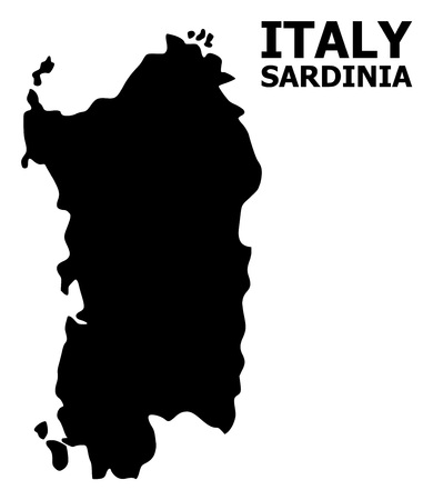 Vector Map of Sardinia region with name. Map of Sardinia region is isolated on a white background. Simple flat geographic map.
