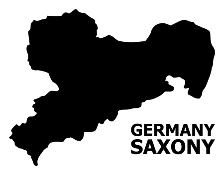 Vector Map of Saxony State with caption. Map of Saxony State is isolated on a white background. Simple flat geographic map. Standard-Bild - 120491143
