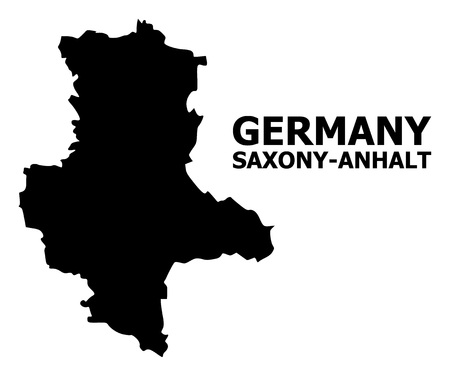 Vector Map of Saxony-Anhalt State with title. Map of Saxony-Anhalt State is isolated on a white background. Simple flat geographic map. Standard-Bild - 120491142