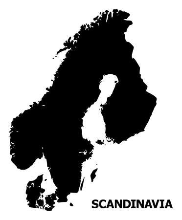 Vector Map of Scandinavia with name. Map of Scandinavia is isolated on a white background. Simple flat geographic map. Ilustracje wektorowe