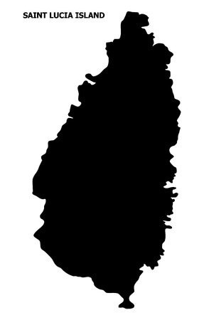 Vector Map of Saint Lucia Island with name. Map of Saint Lucia Island is isolated on a white background. Simple flat geographic map.