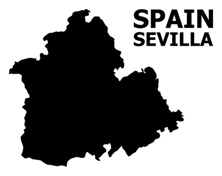 Vector Map of Sevilla Province with name. Map of Sevilla Province is isolated on a white background. Simple flat geographic map.