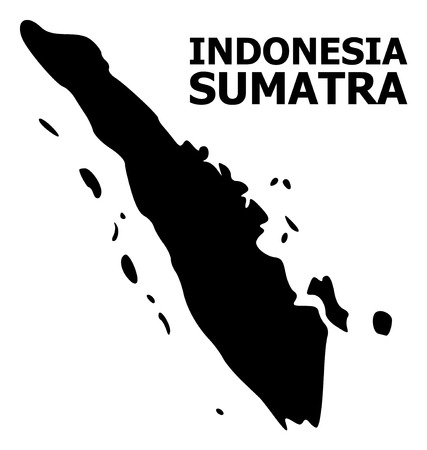 Vector Map of Sumatra Island with caption. Map of Sumatra Island is isolated on a white background. Simple flat geographic map. Stock Vector - 120491291
